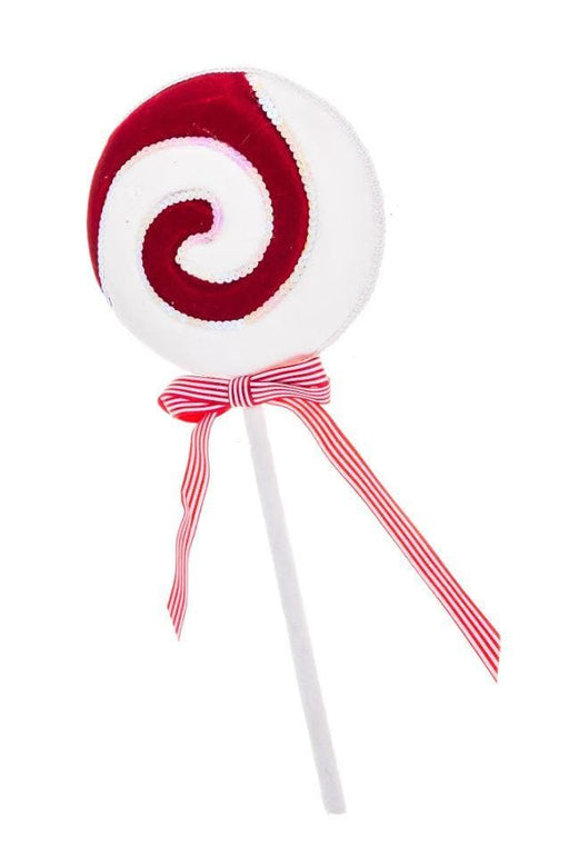 "19"" RED & WHITE LOLLIPOP WITH BOW SET OF 2"