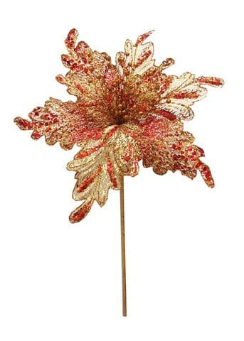 18'' GOLD & RED GLITTER POINSETTIA SET OF 6
