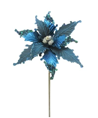 "18"" TURQUOISE & SILVER POINSETTIA SET OF 6"