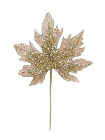 "16"" CHAMPAGNE LEAF STEM SET OF 6"
