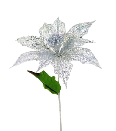"23"" SILVER POINSETTIA FLOWER SET OF 6"