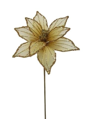 "19"" GOLD SHEER POINSETTIA SET OF 6"