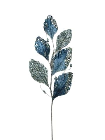 "31"" BLUE GRAY LEAVES BRANCH SET of 6"