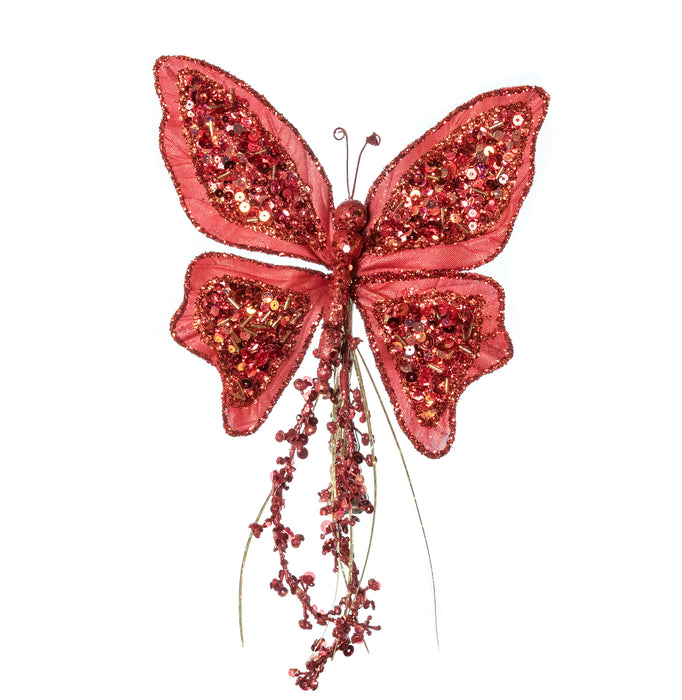 "7"" RED SEQUIN BUTTERFLY CLIP SET OF 6"