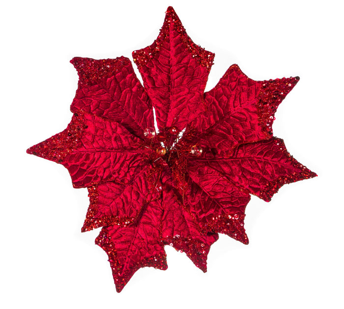 "21"" RED VELVET POINSETTIA STEM SET OF 4"