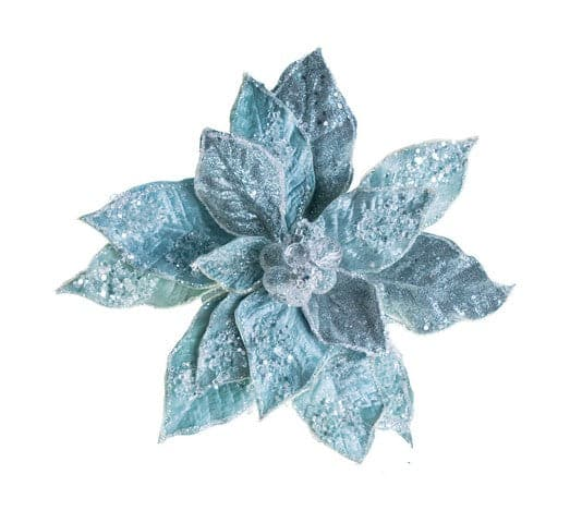 "28"" BLUE ICY POINSETTIA STEM SET OF 4"