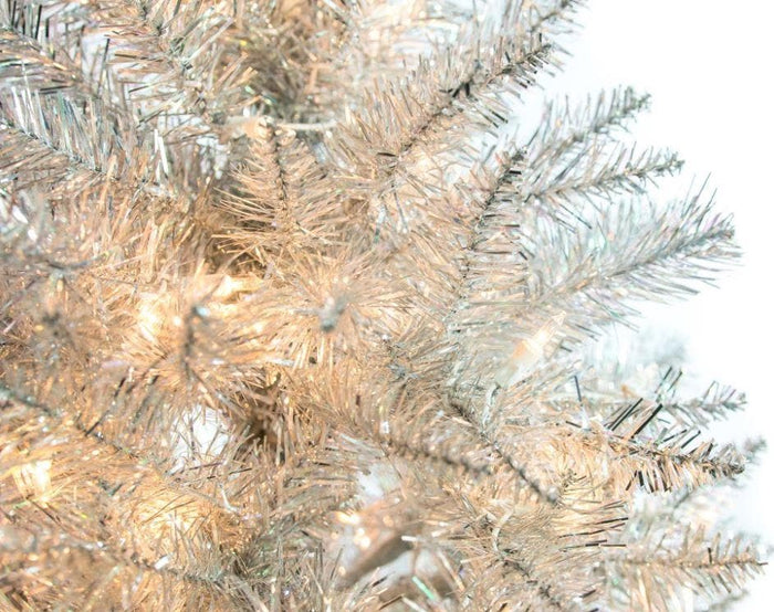 4 FT SILVER TINSEL TREE PRE LIT