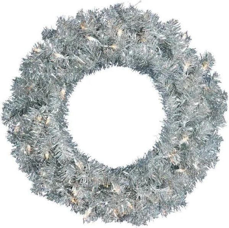 "SILVER WREATH 24"" LED SET OF 2"