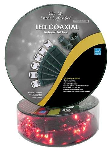 50' 150LT RED LED CONCAVE GREEN WIRE STRING LIGHTS WITH COAXIAL