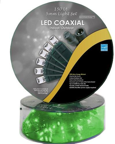 50 FT 150 GREEN LED CONCAVE GREEN WIRE LIGHT STRING WITH COAXIAL