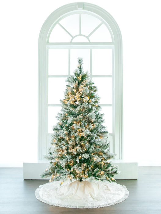 5 FT FLOCKED TREE PRE LIT CLEAR LIGHTS