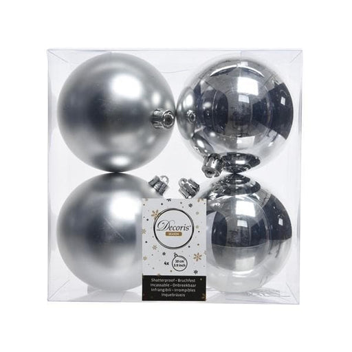 "4"" SHINY & MATTE SILVER BALL ORNAMENTS SET OF 16"