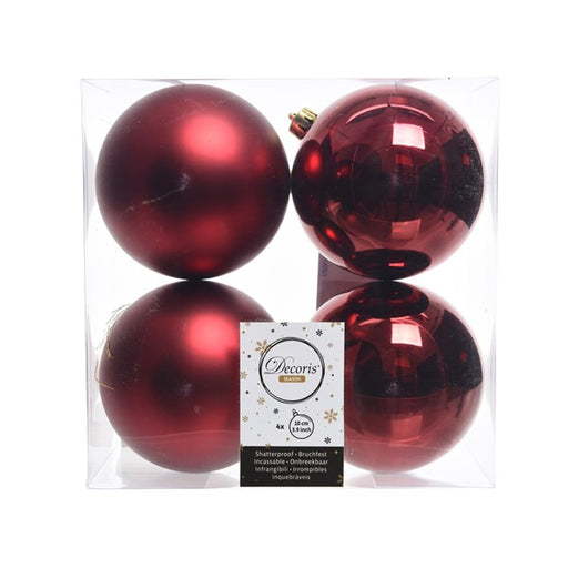 "4"" SHINY & MATTE BURGUNDY BALL ORNAMENTS PACK OF 16"