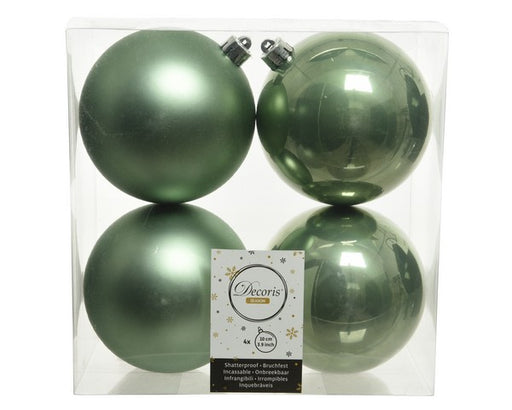"4"" SHINY & MATTE SAGE GREEN BALL ORNAMENTS SET OF 16"