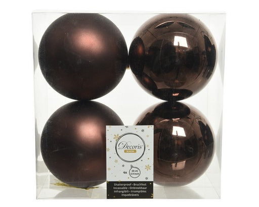 "4"" SHINY & MATTE RUSTY BROWN BALL ORNAMENTS SET OF 16"