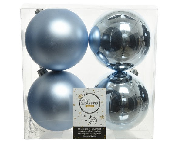 "4"" SHINY & MATTE STEEL BLUE BALL ORNAMENTS SET OF 16"