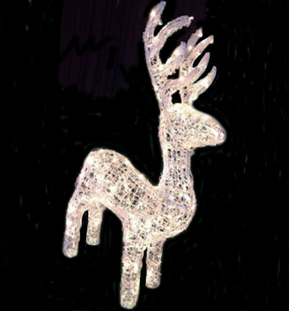 4' 200 LED WHITE 3D REINDEER WITH FLASHING LIGHTS