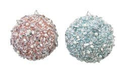 100MM AQUA & PINK BEADED BALL ORNAMENT SET OF 2