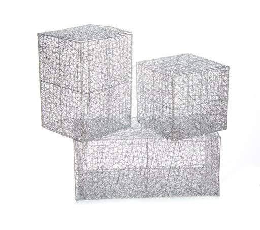 "8"", 12"", & 18"" SILVER MESH BOX SET OF 3"