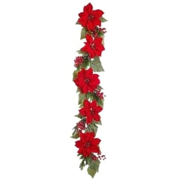 5 FT RED POINSETTIA BERRY GARLAND