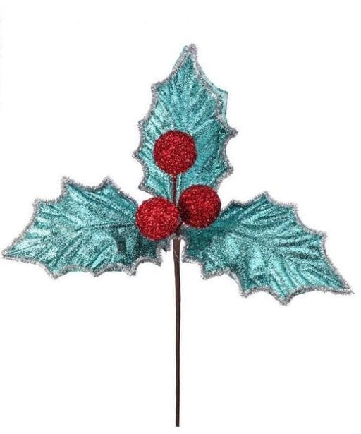 "14"" BLUE & SILVER HOLLY BERRY PICK SET OF 6"