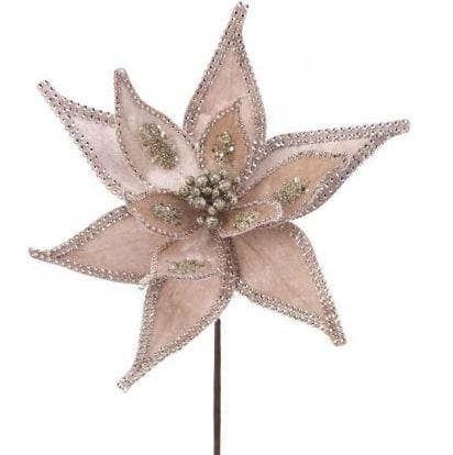 "24"" CHAMPAGNE JEWELED  POINSETTIA STEM SET OF 12"