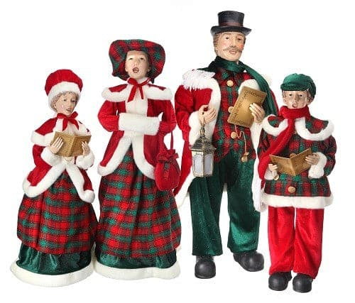 "26-35"" PLAID VELVET CAROLLERS SET OF 4"