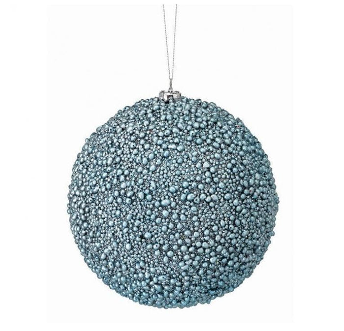 "6"" BLUE METALLIC MINI BEAD BALL ORNAMENT SET OF 6"
