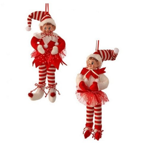 "9"" RED & WHITE VELVET BENDABLE PEPPERMINT ELF ORNAMENT SET OF 2"