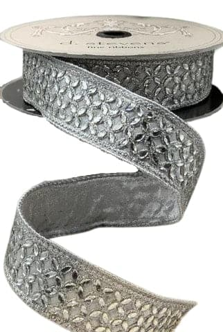 "1.5"" X 10YD SILVER METALLIC DUPION WITH FLOWER CRYSTAL TRIM"