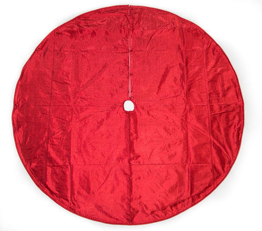 "72"" RED METALLIC DUPION TREE SKIRT"