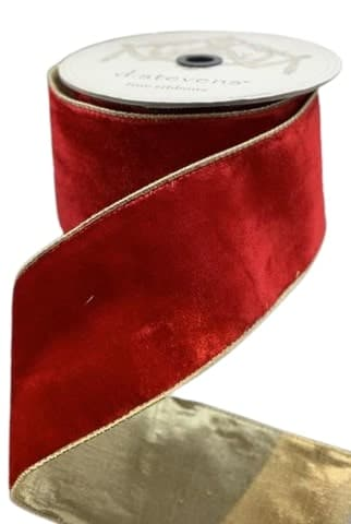"4""X10YD RED VELVET WITH METALLIC GOLD BACK"