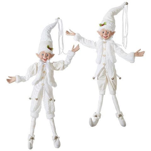 "30"" WHITE POSABLE ELF SET OF 2"