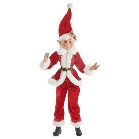 "16"" RED & WHITE SANTA POSABLE ELF"
