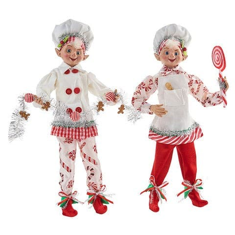 "16"" PEPPERMINT CANDY POSABLE ELF SET OF 2"