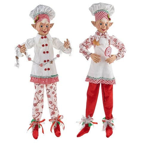 "30"" PEPPERMNT CANDY POSBLE ELF SET OF 2"