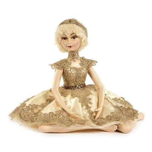 "17"" GOLD LACE SITTING DOLL"