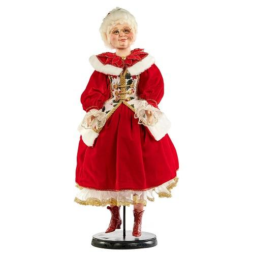 "30"" HOLLY MRS SANTA CLAUS DOLL WITH STAND"