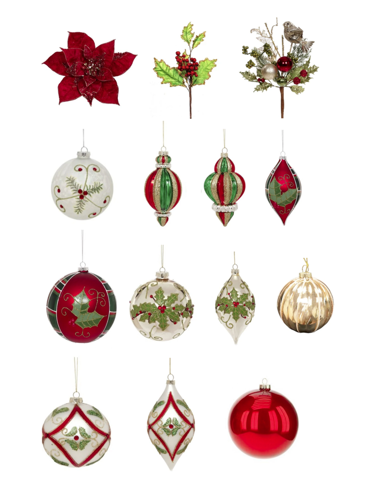 MARK ROBERTS HOLLY TRADITION ORNAMENT SET OF 30