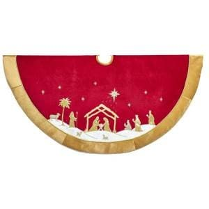 "48"" RED & GOLD NATIVITY TREE SKIRT"