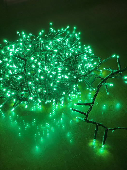 36 FT COMPACT STARTER SET GREEN WITH 1 STRING OF 500 LED LIGHTS TRANSFORMER
