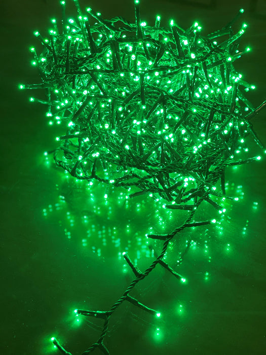 52.2 FT WITH 750 LIGHTS COMPACT GREEN 8 FUNCTION TWINKLE LIGHT WITH GREEN CABLE