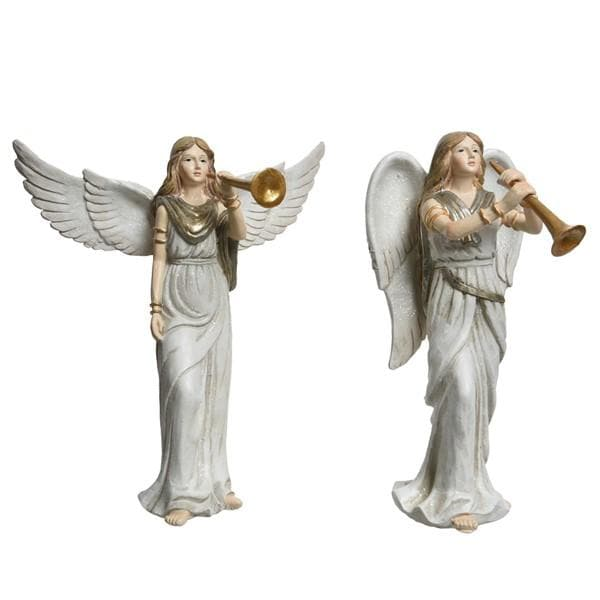 "12"" CREAM ANGEL WITH TRUMPET SET OF 2"