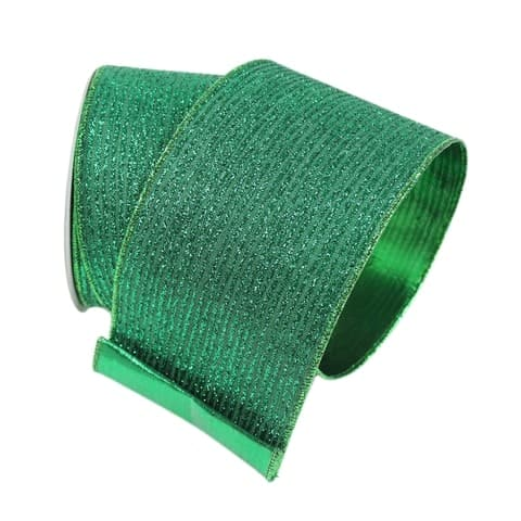 "4""X10YD EMERALD GREEN GLITTER STRIPE RIBBON"