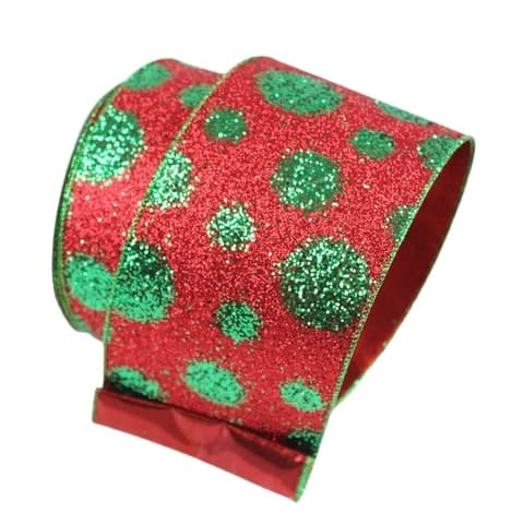 "4"" X 10YD RED WITH GREEN DOTS RIBBON"