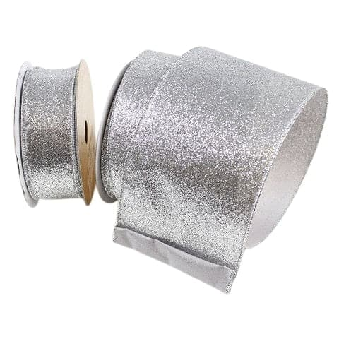 "2.5"" X 10YD SILVER DIAMOND DUST RIBBON"