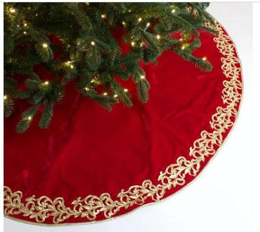 "60"" RED & GOLD ELEGANT EMBROIDERY  TREE SKIRT"