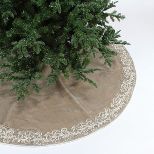 "72"" PLATINUM  ELEGANT EMBROIDERY TREE SKIRT"