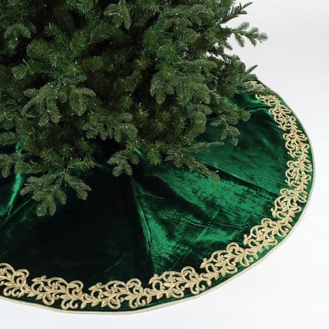 "72"" EMERALD ELEGANT EMBROIDERY  TREE SKIRT"
