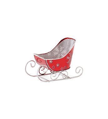 "4.25"" RED & SILVER SNOWFLAKE SLEIGH SET OF 2"